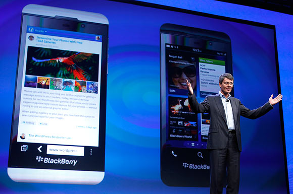 Research in Motion (RIM) President and Chief Executive Officer Thorsten Heins introduces a new RIM Blackberry 10 device during their launch in New York January 30, 2013.