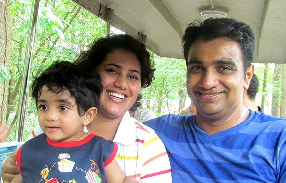 Wife Ashwini and son Avnish with Amit Bhagwat