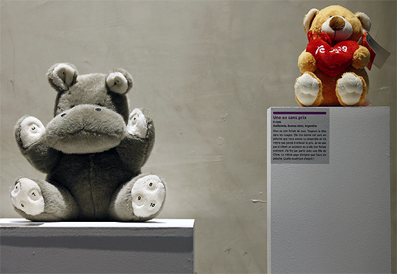 Stuffed animals, a hippopotamus and a bear from an ex-girl friend, are displayed at the Museum of Broken Relationships