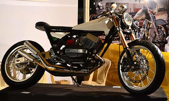 A highly modified Yamaha RD350 at one of the stands at IBW