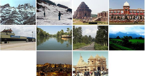 A collage of the places that take you through the most romantic drives in India