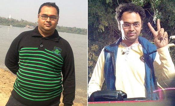 Mihir who once weighed 120 kilos (right) is now back in shape