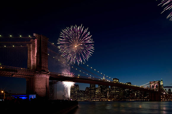 Fireworks behind the Brooklyn Bridge