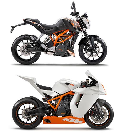 A collage of KTM 390 Duke and RC8 based on which KTM will be launching the RC250 in India