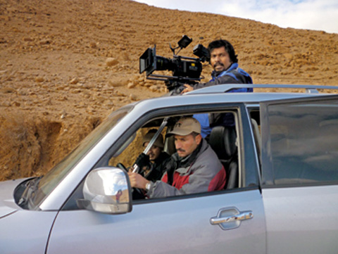 Cinematographer Varughese during an outdoor shoot