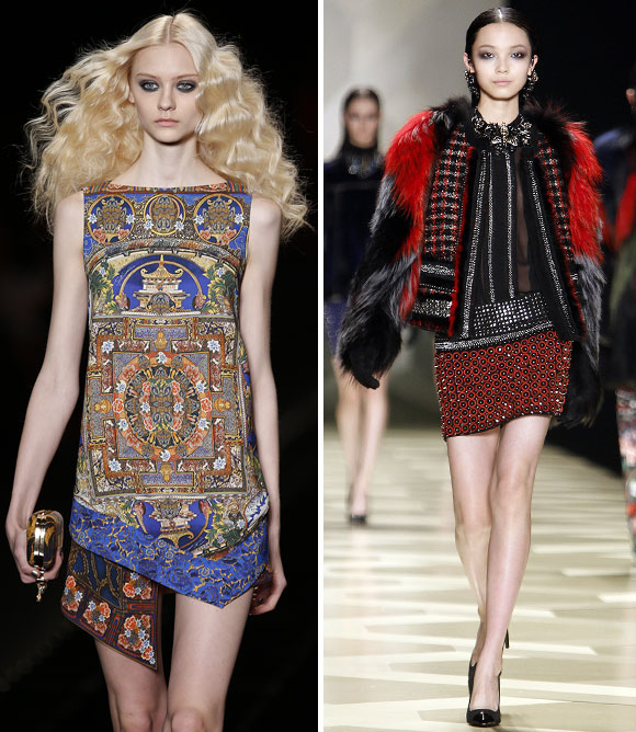 Creations from the Just Cavalli (left) and the Roberto Cavalli collections.