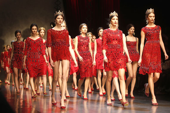 Lace played a dominant role in the Dolce &Gabbana collection.