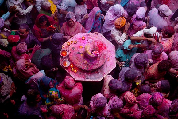 Holi is an important festival for Hindu devotees at the Bankey Bihari Temple in Vrindavan, India