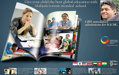 Ajay (inset) designed  a book to showcase holistic teaching methodology for an ad campaign on global India International Schools