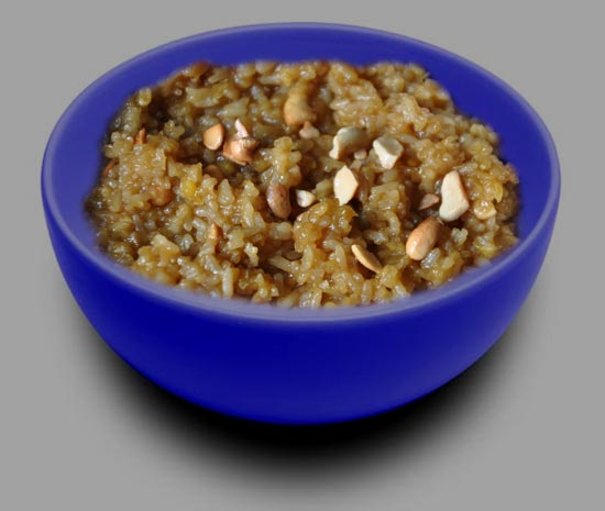 Jaggery rice pongal