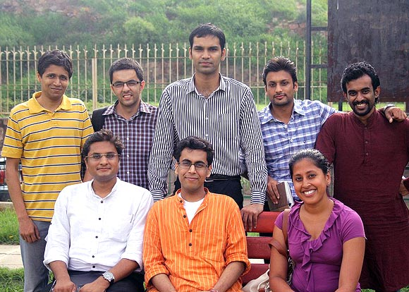 Ritwik (in pink) with her team