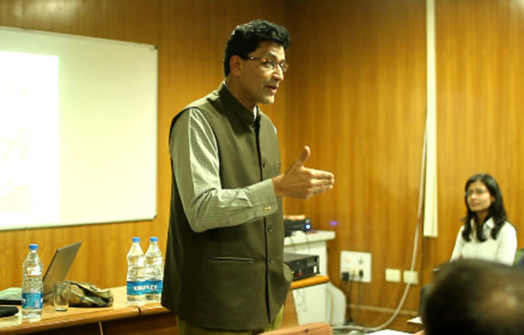 Dr Ajoy Kumar, MP, Jamshedpur at a Swaniti talk event