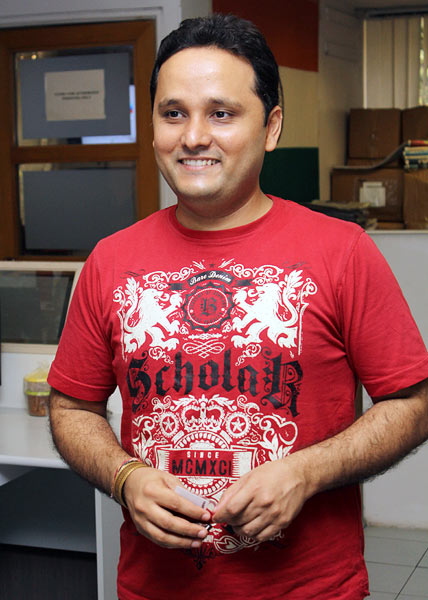 Amish Tripathi at Rediff's Mumbai office