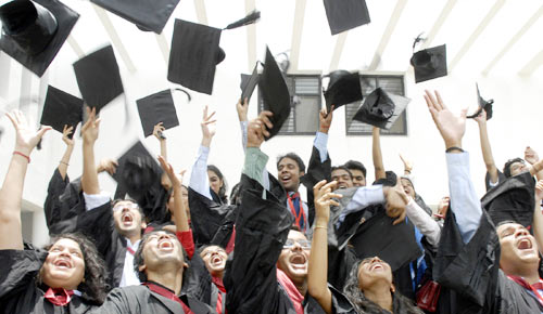 Students of a graduating class from one of India's colleges