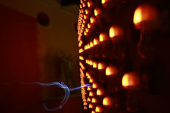 Visual artist Anant Joshi has replaced the lamps in his replica of a typical Kerala temple with mosquito repellant; that is what gives off the strong smell when you enter the room.