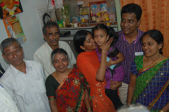 Portrait of a happy family: Jayakumar Perumal (with vermillion on his forehead), his wife Lingammal, daughter Prema, son Dhanraj and eldest daughter Mahalaxmi.