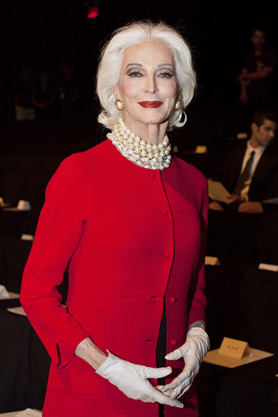 Model Carmen Dell'Orefice poses before the Chado Ralph Rucci Spring/Summer 2013 collection show during New York Fashion Week September 9, 2012.
