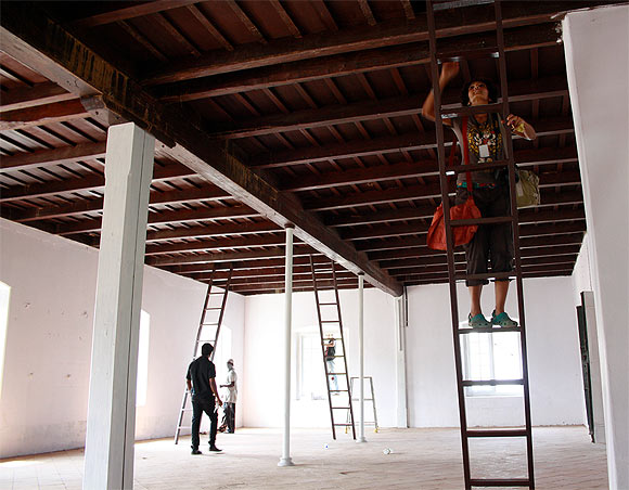 Checking out artist Anita Dube's audio installation