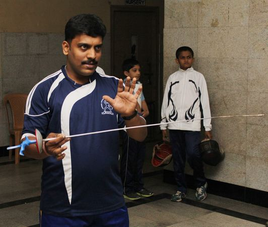 Kedar Dhawle is one of the few fencing coaches in the city