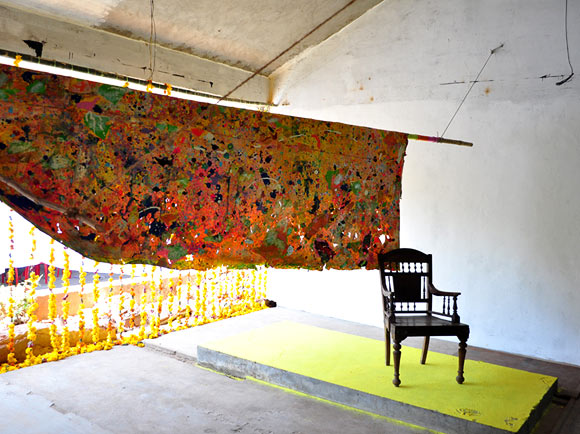Clifford Charles had to recreate his installation after it was vandalised at the Kochi Biennale.