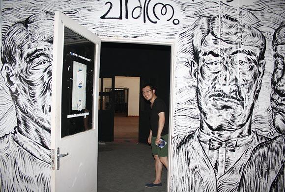 Sun Xun's installation incorporates text written in Malayalam.