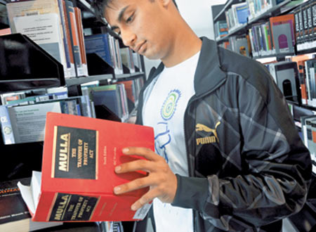 A Law student at Jindal Global Law School's library
