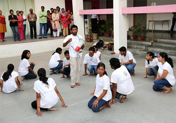 Arun and his team doing a street play