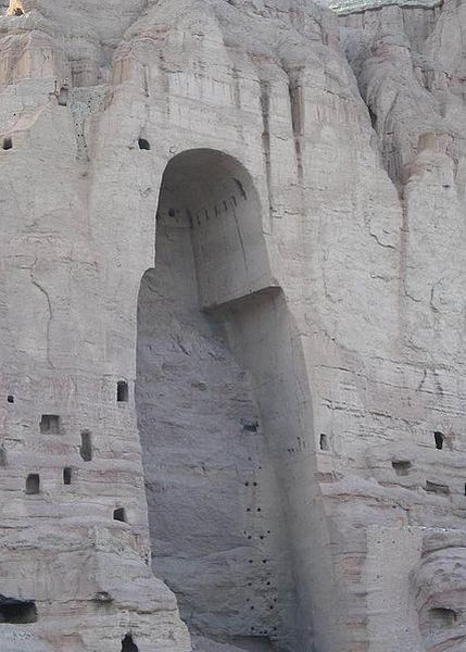 The remains of the site where one of the Bamiyan Buddhas stood.