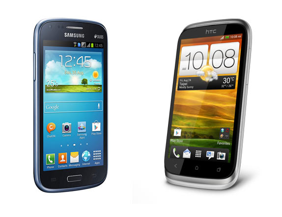 A collage of Samsung Galaxy Core and HTC Desire X