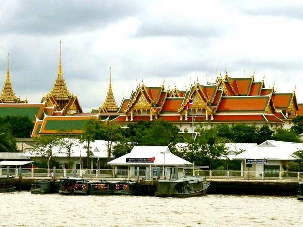 Grand Palace, Bangkok, Thailand as seen from the River Chao Phraya