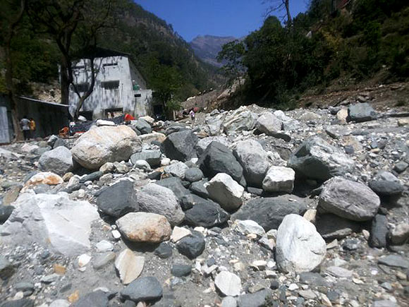 The dried up Asi Ganga, a tributary of river Ganga, near Chamoli in Uttarakhand