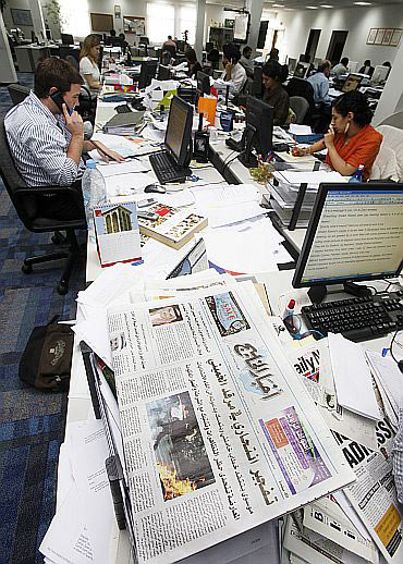 Journalists work at the Gulf Daily News in Manama