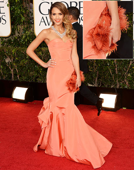 Jessica Alba arrives at the 70th Annual Golden Globe Awards held at The Beverly Hilton Hotel on January 13, 2013 in Beverly Hills, California