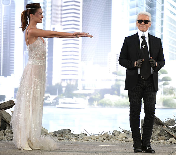 Erin Wasson and Karl Lagerfeld