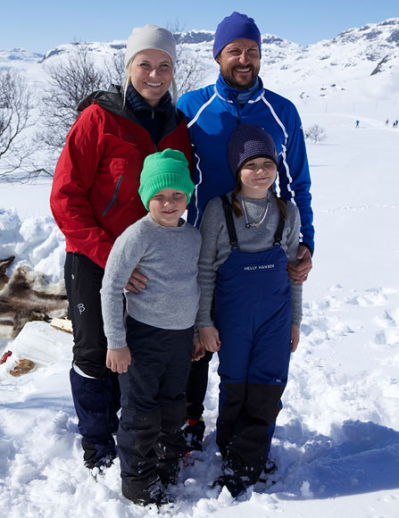 Princess Mette-Marit of Norway, Prince Sverre Magnus of Norway, Prince Haakon of Norway and Princess Ingrid Alexandra of Norway attend a photocall after the 50th Ridderrenn on April 13, 2013 in Beitostoelen, Norway