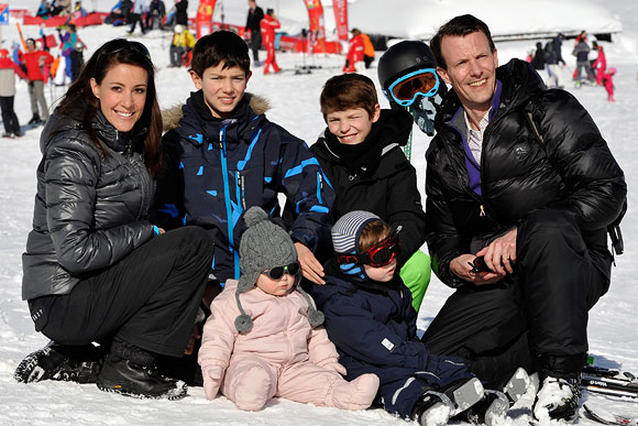 (Clockwise from top left) Princess Marie, Prince Nikolai, Prince Felix, and Prince Joachim, Prince Henrik and Princess Athena of Denmark meet the press whilst on a skiing holiday in Villars on February 13, 2013 in Villars-sur-Ollon, Switzerland