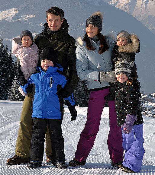 (Clockwise from top left) Princess Josephine, Crown Prince Frederik, Princess Mary, Prince Vincent, Princess Isabella and Prince Christian of Denmark meet the press whilst on a skiing holiday in Verbier on February 12, 2012 in Verbier, Switzerland