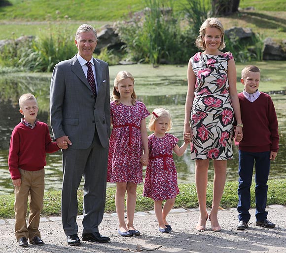 (L-R) Prince Emmanuel, Prince Philippe, Princess Elisabeth, Princess Eleonore, Princess Mathilde and Prince Gabriel of Belgium attend the Belgian Royal Family official photocall at Laeken Castle on September 2, 2012 in Brussels, Belgium