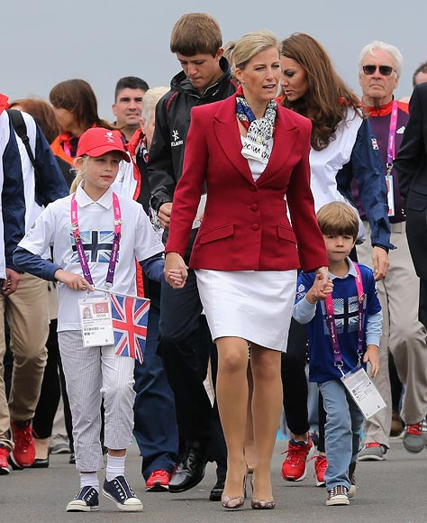(L-R) Lady Louise Windsor, Sophie, Countess of Wessex, and James Windsor, Viscount Severn leave Eton Dorney after the rowing on day 4 of the London 2012 Paralympic Games at Eton Dorney on September 2, 2012 in Windsor, England