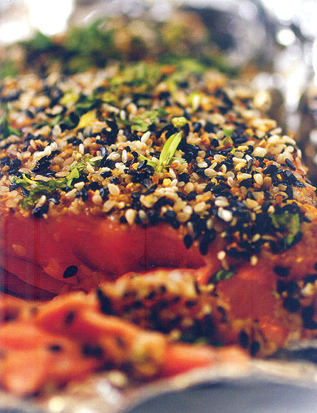 Ginger and Sesame Seeds-Coated Wild Salmon