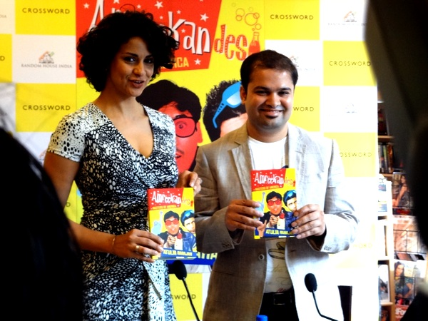 Atulya Mahajan with actress Gul Panag at the Mumbai launch of his book