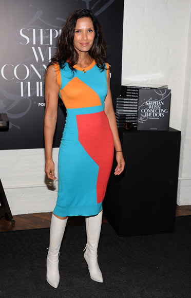 Padma Lakshmi attends 'Connecting The Dots' Book Launch & Exhibition Opening at Donna Karan's Urban Zen Center at the Stephen Weiss Studio on October 17, 2012 in New York City
