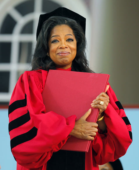 Oprah Winfrey received an honorary Doctor of Laws degree from Harvard University on May 30, 2013