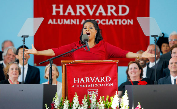 Oprah Winfrey delivering the commencement address at Harvard University on May 30, 2013