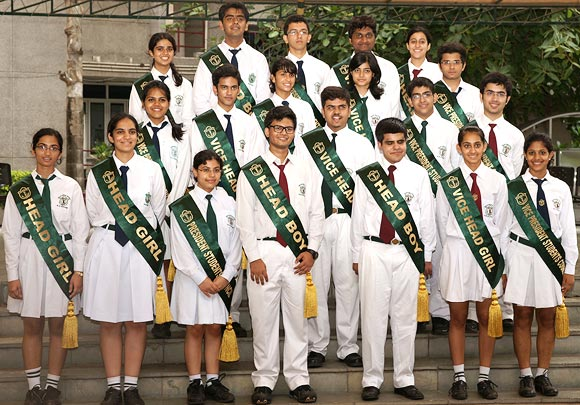 Kartik Sawhney (bottom row, third from right) with fellow student council members at Delhi Public School during the academic year 2012-2013