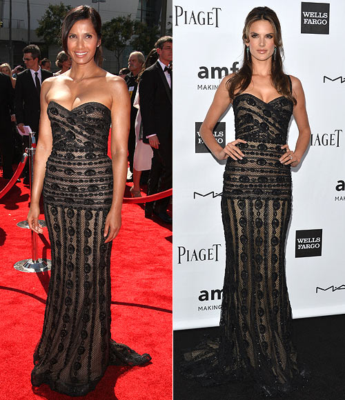 Padma Lakshmi and (right) Alessandra Ambrosio in Zuhair Murad Couture