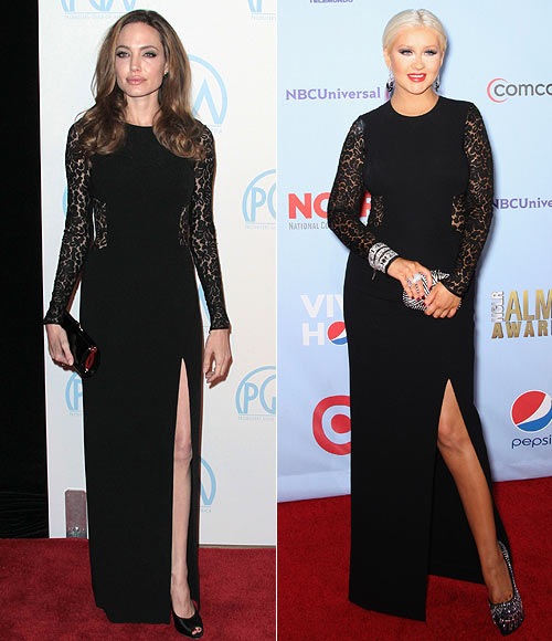 Angelina Jolie and (right) Christina Aguilera in Michael Kors