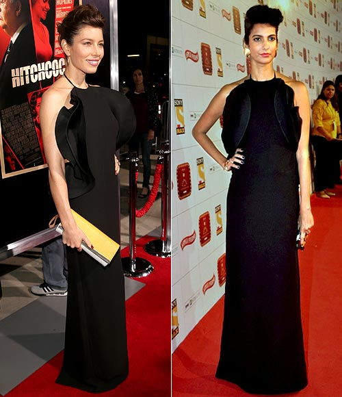 Jessica Biel and (right) Poorna Jagannathan in Gucci