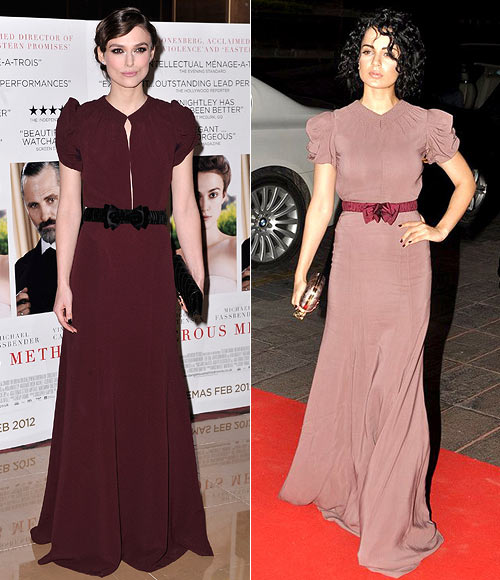 Keira Knightley and (right) Kangna Ranaut in Burberry Prorsum