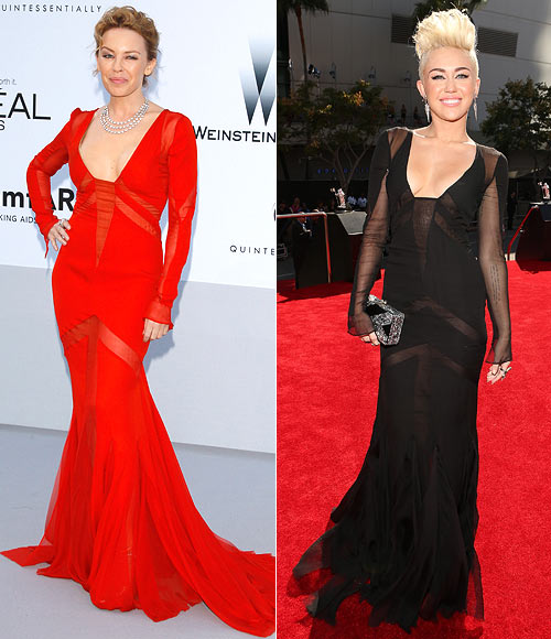 Kylie Minogue and (right) Miley Cyrus in Emilio Pucci